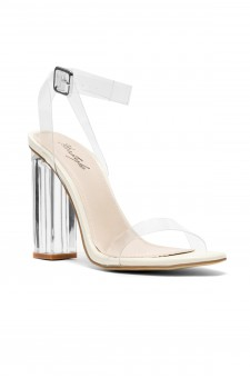 Women's Alandari Clear Lucite Ankle Strap Open Toe, chunky Perspex heel - Clear