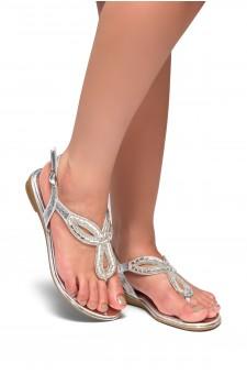 HerStyle Aleani-Rhinestone Thong Flat Sandal (Silver)