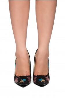 HerStyle Aleanie-Glitter Stars, Pointy toe, Stiletto heel (Black)