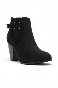HerStyle ALENEMA -Almont toe, stacked heel Booties(Black)