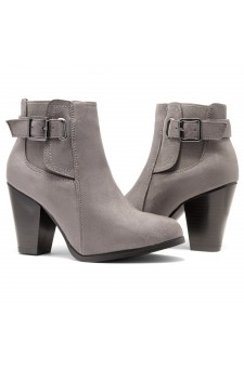 HerStyle ALENEMA -Almont toe, stacked heel Booties(Grey)