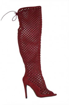 Women's Burgundy Alerine Faux Suede Cut Out Thigh High Gladiator