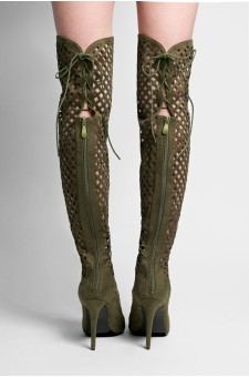 Women's Olive Alerine Faux Suede Cut Out Thigh High Gladiator
