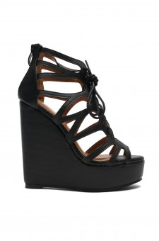 Women's Black Alessaa 5-inch Wedge Sandal with Faux Leather Styling