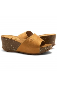 HerStyle Alessia -Open Toe Slide Wedge Sandals (Mustard)