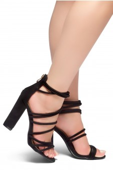 HerStyle ALL YEAR AROUND-Chunky heel, gladiator construction, ankle strap with back closure zipper(Black)