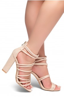 HerStyle ALL YEAR AROUND-Chunky heel, gladiator construction, ankle strap with back closure zipper(Nude)