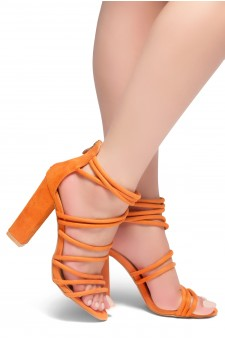 HerStyle ALL YEAR AROUND-Chunky heel, gladiator construction, ankle strap with back closure zipper(Yellow)