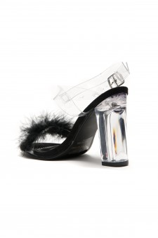 HerStyle Women's Manmade Allinnaa Fluffy Fur Lucite Chunky Perspex Hee  - Clear/ Black