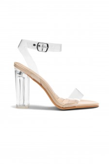 HerStyle Women's Manmade Allissa Perspex heel, ankle strap - Clear/ Nude