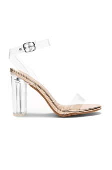 HerStyle Women's Manmade Allissa Perspex heel, ankle strap - Clear / Rose Gold