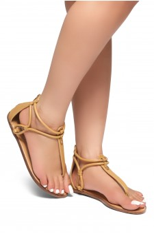 HerStyle Alta – Open Toe T-Strap Thong Sandals with Simple Metallic Stud, Back Closure (Camel)
