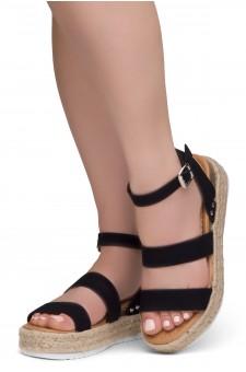 ShoeLand Alysa Womens Open Toe Ankle Strap Platform Wedge Sandals(2022Black)
