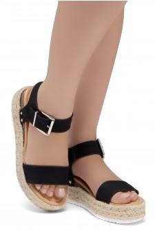ShoeLand Alysa Womens Open Toe Ankle Strap Platform Wedge Sandals(Black)