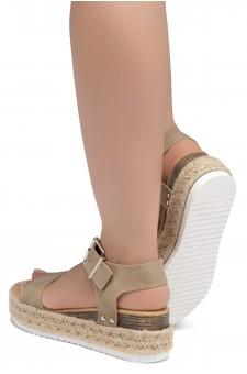 ShoeLand Alysa Womens Open Toe Ankle Strap Platform Wedge Sandals(Natural)