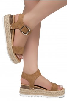 ShoeLand Alysa Womens Open Toe Ankle Strap Platform Wedge Sandals(Tan)