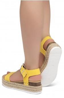ShoeLand Alysa Womens Open Toe Ankle Strap Platform Wedge Sandals(Yellow)