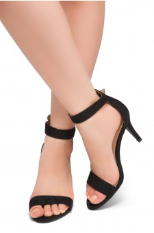 Shoe Land SL-Ambrosia-Stiletto Heel Ankle Strap Rounded Buckle Open Toe with Back Closure (Black)
