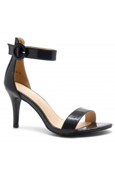 HerStyle Ambrosia-Stiletto Heel Ankle Strap Rounded Buckle Open Toe with Back Closure (BlackSNK)