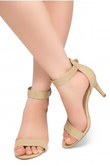 HerStyle Ambrosia-Stiletto Heel Ankle Strap Rounded Buckle Open Toe with Back Closure (NudeSNK)