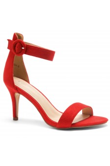 HerStyle Ambrosia-Stiletto Heel Ankle Strap Rounded Buckle Open Toe with Back Closure (Red)