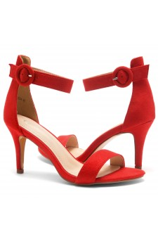 Shoe Land SL-Ambrosia-Stiletto Heel Ankle Strap Rounded Buckle Open Toe with Back Closure (Red)