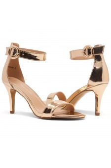 HerStyle Ambrosia-Stiletto Heel Ankle Strap Rounded Buckle Open Toe with Back Closure (RoseGold)