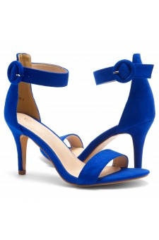 Shoe Land SL-Ambrosia-Stiletto Heel Ankle Strap Rounded Buckle Open Toe with Back Closure (RoyalBlue)