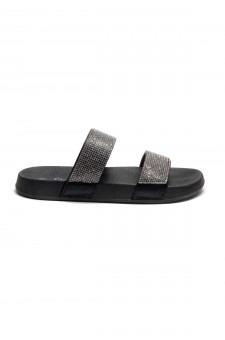 HerStyle Anabell Open Toe Jewelled Embellishment Slide Sandal (Black)