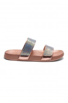 HerStyle Anabell Open Toe Jewelled Embellishment Slide Sandal (RoseGold)