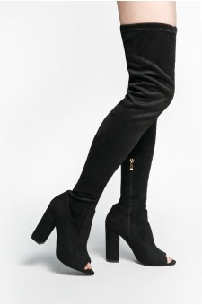 HerStyle Aneella peep toe, chunky heel, thigh high construction, rear leg tie (Black)