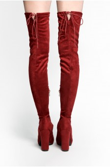 HerStyle Aneella peep toe, chunky heel, thigh high construction, rear leg tie (Burgundy)