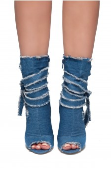 HerStyle Angilia-Stiletto heel, distressed denim booties (Navy DM)