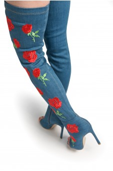HerStyle Women's Annika. Honey Floral Embroidered Peep Toe Thigh-high Boot in Blue Denim