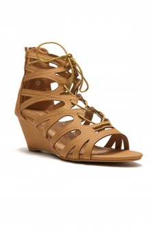 HerStyle Women's Manmade Antella 3-inch Gladiator Style Wedge Sandal with Lace-up Vamp (Cognac)