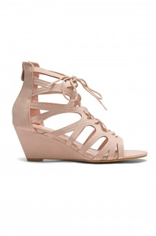 HerStyle Women's Manmade Antella 3-inch Gladiator Style Wedge Sandal with Lace-up Vamp (Mauve)
