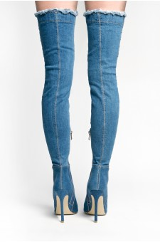 Anushikka Destroyed Denim Stiletto heel, a peep toe, thigh high construction, distressed details (Blue DM)