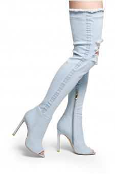 Anushikka Destroyed Denim Stiletto heel, a peep toe, thigh high construction, distressed details (L.Blue DM)