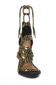 HerStyle April Black Rope Detail stiletto Heeled Sandals (Black/Gold)