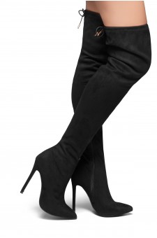 HerStyle Arabie-Pointed toe, stiletto heel, thigh high construction, rear lace tie (Black)