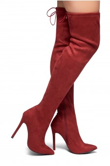 HerStyle Arabie-Pointed toe, stiletto heel, thigh high construction, rear lace tie (Burgundy)