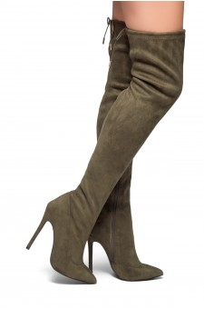 HerStyle Arabie-Pointed toe, stiletto heel, thigh high construction, rear lace tie (Olive)