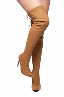 HerStyle Arabie-Pointed toe, stiletto heel, thigh high construction, rear lace tie (Tan)