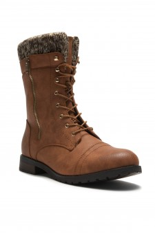 HerStyle Araviia-Lace Up Knit Ankle Cuff Low Heel Combat Boots(Tan)