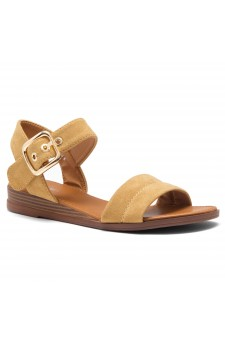 HerStyle Ariella- Simple-Band Vamp Wedge Sandals with Square Buckle (Camel)