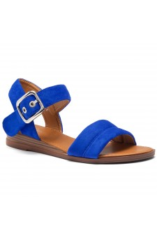HerStyle Ariella- Simple-Band Vamp Wedge Sandals with Square Buckle (RoyalBlue)