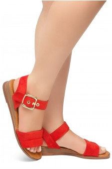 HerStyle Ariella- Simple-Band Vamp Wedge Sandals with Square Buckle (Red)