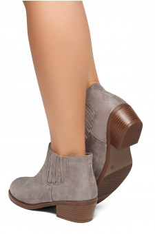 HerStyle Arlo- Low Stacked Heel Almond Toe Casual Ankle Booties (Grey)