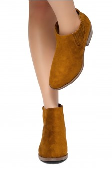 HerStyle Arlo- Low Stacked Heel Almond Toe Casual Ankle Booties (Tan)