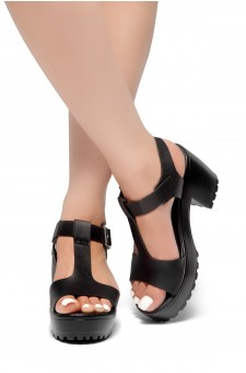 HerStyle Arran-Open Toe Ankle Strap Platform Block Heel (Black)